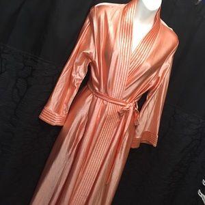 Gorgeous long vintage satin robe one size